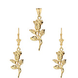 Sparkle Cut Rose Pendant Necklace Set in Yellow Gold