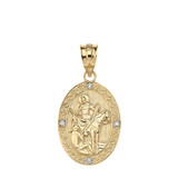 """Engravable Diamond Saint Martin of Tours Pray For Us Oval Pendant Necklace  (1.04"""") in Gold (Yellow/Rose/White)"""