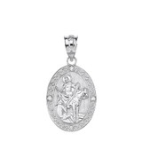 """Solid White Gold Engravable Diamond Saint Martin of Tours Pray For Us Oval Pendant Necklace  (1.04"""")"""