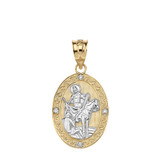 """Solid Two Tone Yellow Gold Engravable Diamond Saint Martin of Tours Pray For Us Oval Pendant Necklace  (1.04"""")"""