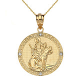 """Engravable Diamond Saint Martin of Tours Pray For Us Circle Pendant Necklace  (1.15"""") in Gold (Yellow/Rose/White)"""