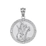 "Solid White Gold Engravable Diamond Saint Martin of Tours Pray For Us Circle Pendant Necklace  (1.15"")"