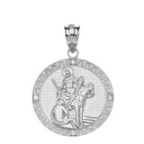"""Sterling Silver Engravable Diamond Saint Martin of Tours Pray For Us Circle Pendant Necklace  (1.15"""")"""