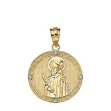 """Engravable Diamond Saint Valentine Pray For Us Circle Pendant Necklace  (1.04"""") in Gold (Yellow/Rose/White)"""