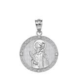 "Solid White Gold Engravable Diamond Saint Valentine Pray For Us Circle Pendant Necklace  (1.04"")"