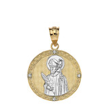 """Solid Two Tone Yellow Gold Engravable Diamond Saint Valentine Pray For Us Circle Pendant Necklace  (1.04"""")"""