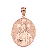 """Solid Rose Gold Large Saint Jude Protect Us Oval Pendant Necklace  (1.32"""")"""