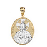 """Solid Two Tone Yellow Gold Large Saint Jude Protect Us Oval Pendant Necklace  (1.32"""")"""