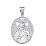 """Sterling Silver Large Saint Jude Protect Us Oval Pendant Necklace  (1.32"""")"""