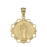 Solid Yellow Gold Diamond Santa Muerte Circle Pendant Necklace