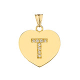 """Diamond Initial """"T"""" Heart Pendant Necklace in Yellow Gold"""