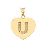 """Diamond Initial """"U"""" Heart Pendant Necklace in Yellow Gold"""