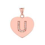 "Diamond Initial ""U"" Heart Pendant Necklace in Rose Gold"