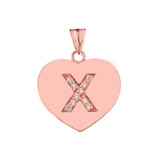 """Diamond Initial """"X"""" Heart Pendant Necklace in Rose Gold"""