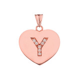 """Diamond Initial """"Y"""" Heart Pendant Necklace in Rose Gold"""
