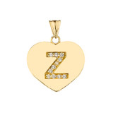 """Diamond Initial """"Z"""" Heart Pendant Necklace in Yellow Gold"""