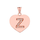 """Diamond Initial """"Z"""" Heart Pendant Necklace in Rose Gold"""