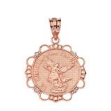Solid Rose Gold Diamond Saint Michael Pray For Us Circle Pendant Necklace