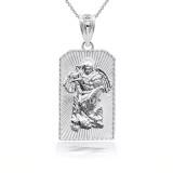 Sterling Silver 3D Saint Michael Archangel Pendant Necklace