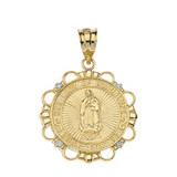 Solid Yellow Gold Diamond Our Lady of Guadalupe Pray For Us Circle Pendant Necklace