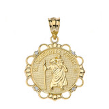 Solid Yellow Gold Diamond Saint Christopher Pray For Us Circle Pendant Necklace