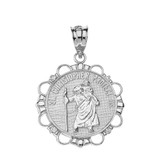 Solid White Gold Diamond Saint Christopher Pray For Us Circle Pendant Necklace