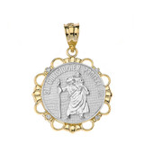 Solid Two Tone Rose Gold Diamond Saint Christopher Pray For Us Circle Pendant Necklace