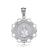 Solid White Gold Diamond Saint Augustine Pray For Us Circle Pendant Necklace