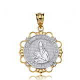 Solid Two Tone Yellow Gold Diamond Saint Augustine Pray For Us Circle Pendant Necklace