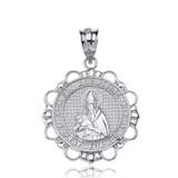 Sterling Silver Saint Augustine Pray For Us Circle Pendant Necklace