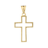 """Two Sided Beaded Open Cross Pendant Necklace in Yellow Gold (1.2"""")"""