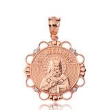 Solid Rose Gold Diamond Saint Nectarios of Aegina Circle Pendant Necklace