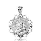Solid White Gold Diamond Saint Nectarios of Aegina Circle Pendant Necklace