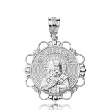 Sterling Silver CZ Saint Nectarios of Aegina Circle Pendant Necklace