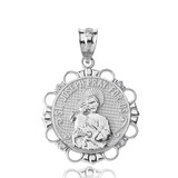 Solid White Gold Diamond Saint Joseph Pray for Us Circle Pendant Necklace
