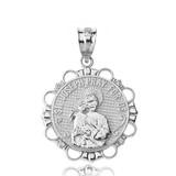 Sterling Silver CZ Saint Joseph Pray for Us Circle Pendant Necklace