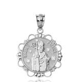Solid White Gold Diamond Saint Patrick Circle Pendant Necklace