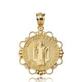 Solid Yellow Gold Diamond Saint Benito Circle Pendant Necklace