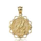 Solid Yellow Gold Diamond Saint George Pray For Us  Circle Pendant Necklace