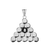 8 Ball Pool Pendant Necklace in Sterling Silver