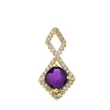 Mod-Chic Infinity Diamond & Genuine Checkerboard Amethyst Pendant Necklace in Yellow Gold