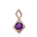 Mod-Chic Infinity Diamond & Genuine Checkerboard Amethyst Pendant Necklace in Rose Gold