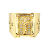 Mens Cross Ring in Solid Yellow Gold