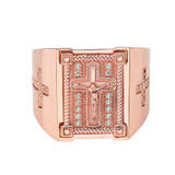 Mens Diamond Cross Ring in Solid Rose Gold