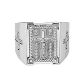 Mens Diamond Cross Ring in Solid White Gold