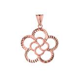 Designer Sparkle Cut Flower Pendant Necklace in Rose Gold
