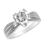 Genuine Diamond and Heart shaped Personalized Birthstone Ring  in Sterling Silver