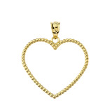 """Two Sided Beaded Open Heart Pendant Necklace in Yellow Gold (1.1"""")"""