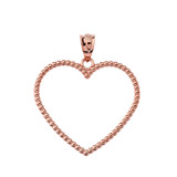 """Two Sided Beaded Open Heart Pendant Necklace in Rose Gold (1.1"""")"""