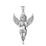 Angel Pendant Necklace in White Gold